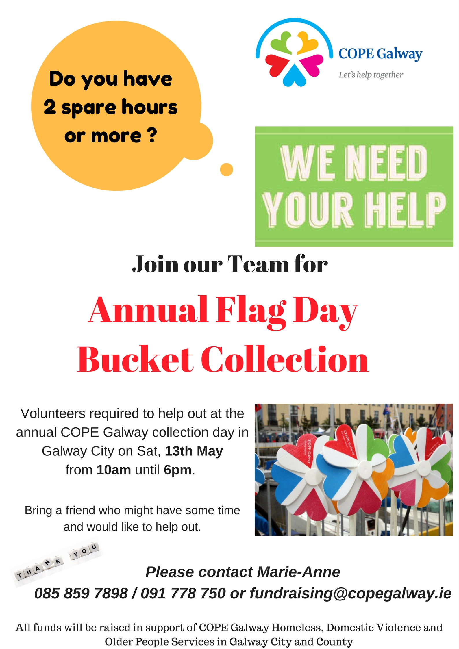 Annual Flag Day in aid of COPE Galway